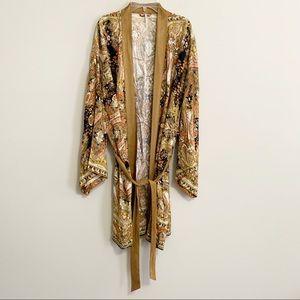 Free People Printed Duster Cardigan Kimono Tie L